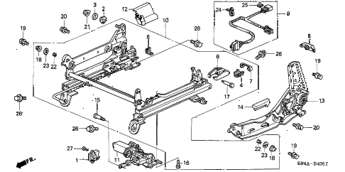 2002 accord EX(UL) 4 DOOR 4AT FRONT SEAT COMPONENTS (L.) (POWER HEIGHT) diagram