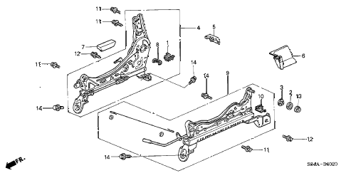 2002 accord DX 4 DOOR 5MT FRONT SEAT COMPONENTS (R.) (MANUAL SEAT) diagram
