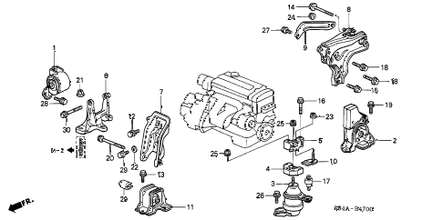 2002 accord LX 4 DOOR 5MT ENGINE MOUNTS (MT) diagram