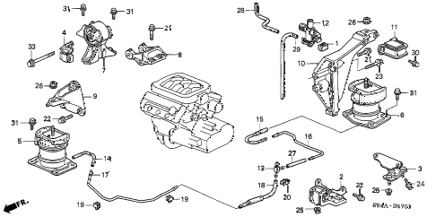 2002 accord EX(V6) 4 DOOR 4AT ENGINE MOUNTS (V6) diagram