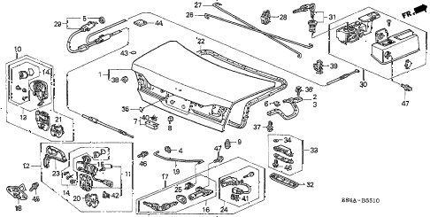 2002 accord LX 4 DOOR 5MT TRUNK LID diagram
