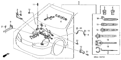2002 accord LX 4 DOOR 4AT ENGINE WIRE HARNESS diagram