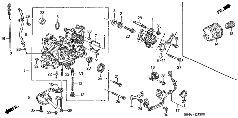 2002 accord EX(SUL) 4 DOOR 4AT OIL PUMP - OIL STRAINER diagram
