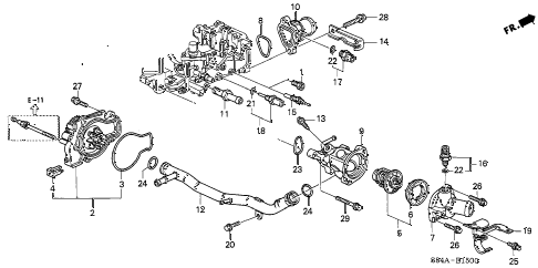 2002 accord EX(UL LEATHER) 4 DOOR 4AT WATER PUMP - SENSOR diagram