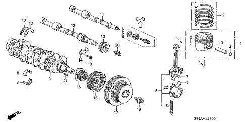 2002 accord DX 4 DOOR 4AT CRANKSHAFT - PISTON diagram