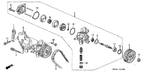 2002 accord LX(UL) 4 DOOR 5MT P.S. PUMP - BRACKET diagram