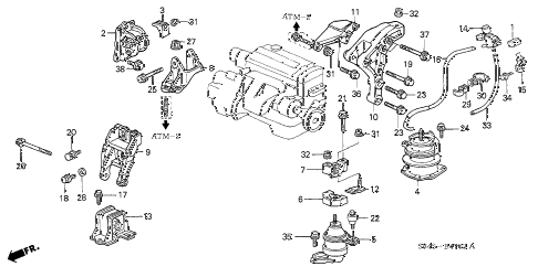 2002 accord EX(UL LEATHER) 4 DOOR 4AT ENGINE MOUNTS (AT) diagram