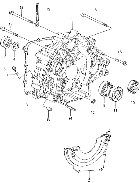 1981 civic **(1500) 3 DOOR HMT HMT TORQUE CONVERTER HOUSING (2) diagram