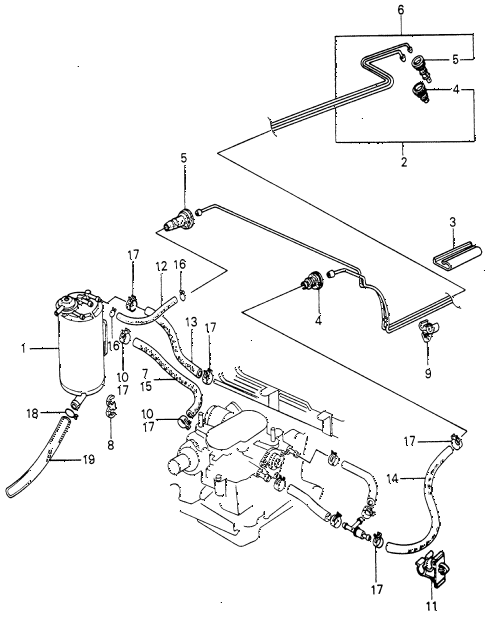 1981 civic FE(1300) 3 DOOR 5MT CANISTER - FUEL HOSE diagram