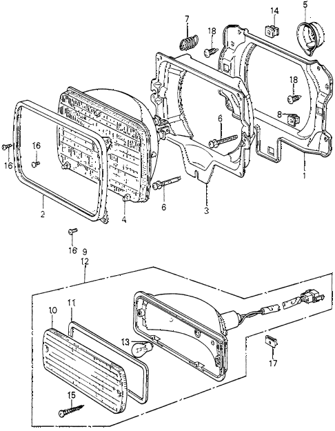 1982 civic FE(1300) 3 DOOR 5MT HEADLIGHT - FRONT COMBINATION LIGHT (2) diagram