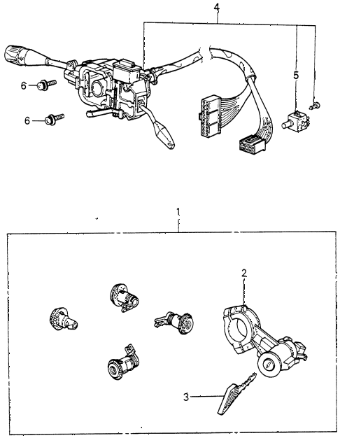 1983 civic **(1300) 3 DOOR 4MT STEERING WHEEL SWITCH - LOCK SET diagram