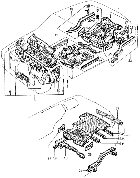 1981 civic ** 5 DOOR HMT BODY STRUCTURE - FLOOR PANEL diagram