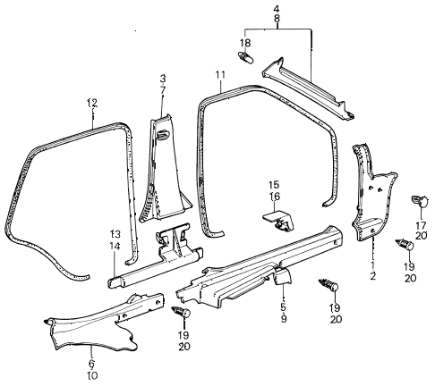 1980 civic ** 5 DOOR HMT SIDE GARNISH - DOOR OPENINGTRIM (2) diagram