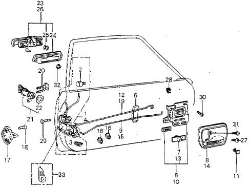 1980 civic **(1500) 3 DOOR HMT DOOR LOCK (1) diagram