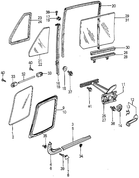 1980 civic ** 5 DOOR 5MT REAR DOOR WINDOWS diagram