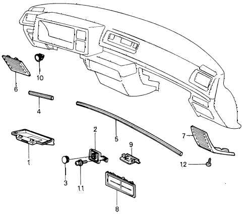 1980 civic **(1300) 3 DOOR 4MT INSTRUMENT GARNISH  - MOLDING (1) diagram