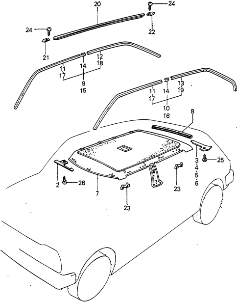 1982 civic DX(1500) 3 DOOR 5MT HEADLINER TRIM diagram