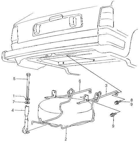 1981 civic ** 5 DOOR 5MT SPARE TIRE CARRIER diagram