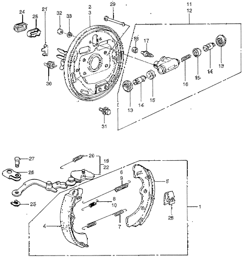 1981 civic **(1300) 3 DOOR HMT REAR BRAKE SHOE diagram