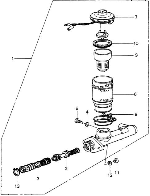 1983 civic **(1300) 3 DOOR 4MT BRAKE MASTER CYLINDER diagram