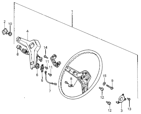 1980 civic ** 5 DOOR 5MT STEERING WHEEL (2) diagram