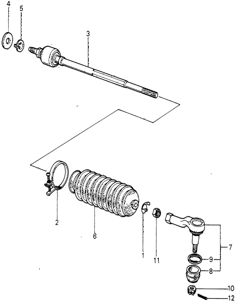 1980 civic **(1500) 3 DOOR 4MT TIE ROD diagram