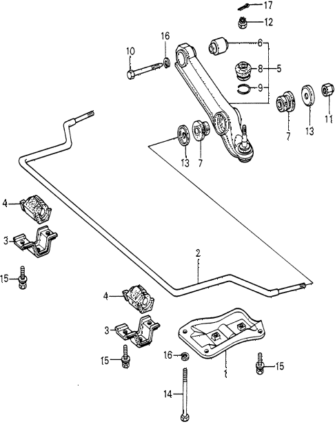 1982 civic FE(1300) 3 DOOR 5MT FRONT LOWER ARM  - STABILIZER diagram