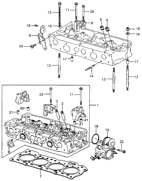 1980 civic FE(1300) 3 DOOR 5MT CYLINDER HEAD (1) diagram