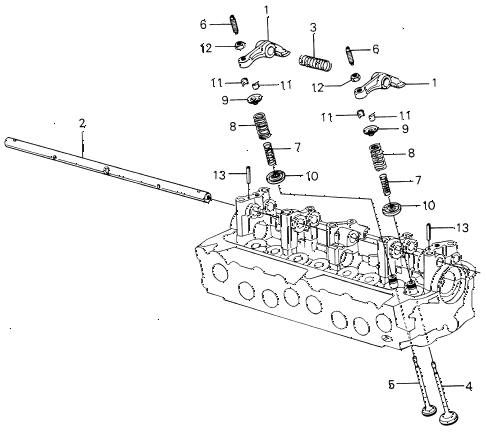 1980 civic ** 5 DOOR HMT VALVE - ROCKER ARM (1) diagram
