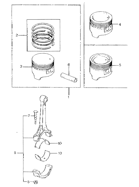 1980 civic **(1500) 3 DOOR HMT PISTON - CONNECTING ROD (2) diagram