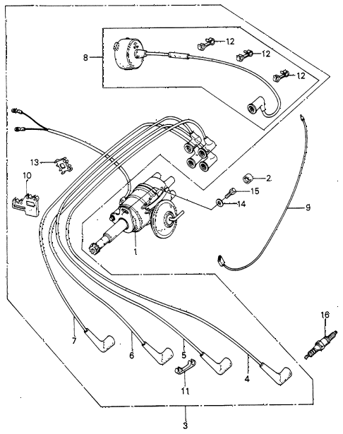 1983 civic FE(1300) 3 DOOR 5MT DISTRIBUTOR - SPARK PLUG diagram