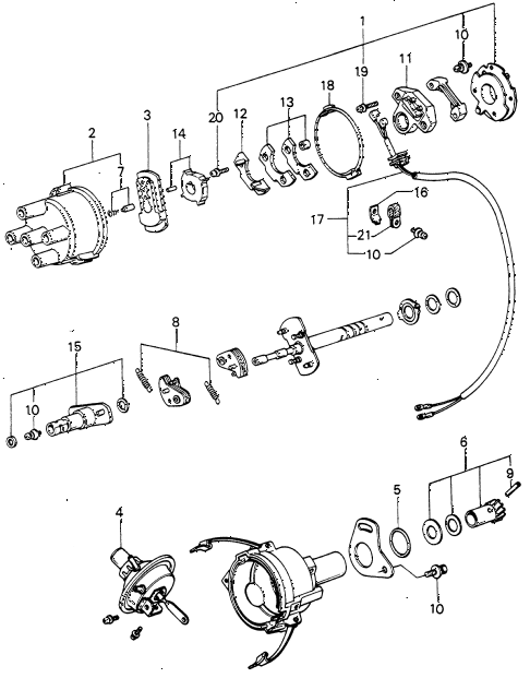 1981 civic ** 5 DOOR HMT DISTRIBUTOR COMPONENTS (2) diagram