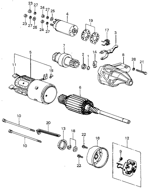 1981 civic **(1500) 3 DOOR 5MT STARTER MOTOR COMPONENTS (HITACHI) diagram