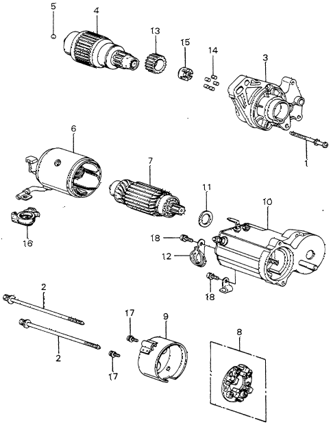 1983 civic FE(1300) 3 DOOR 5MT STARTER MOTOR COMPONENTS (DENSO) (2) diagram