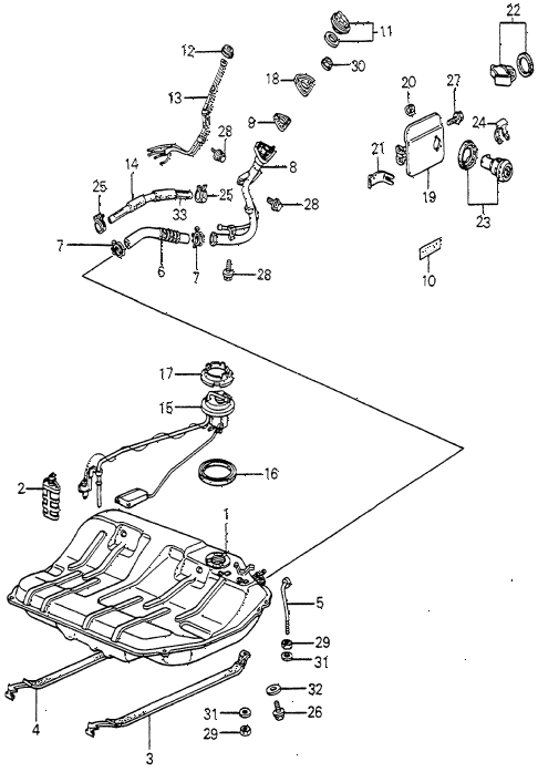 1983 accord SE 4 DOOR HMT FUEL TANK diagram