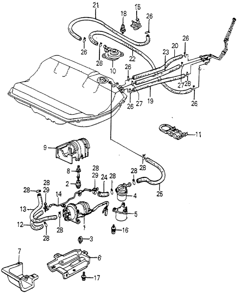 1983 accord DX 4 DOOR 5MT FUEL PUMP - STRAINER diagram