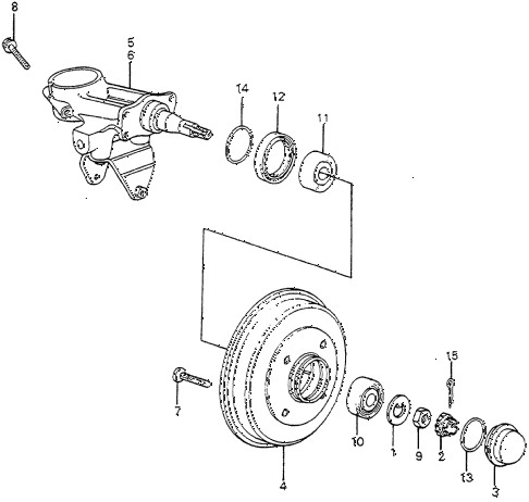 1983 accord DX 4 DOOR HMT REAR BRAKE DRUM diagram