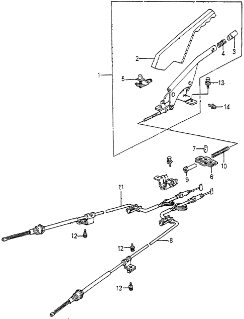 1983 accord DX 4 DOOR HMT PARKING BRAKE diagram