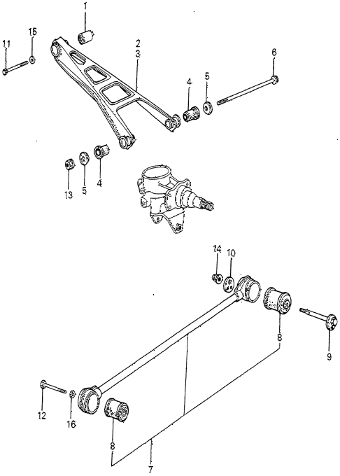 1983 accord SE 4 DOOR HMT REAR LOWER ARM - RADIUS ROD diagram