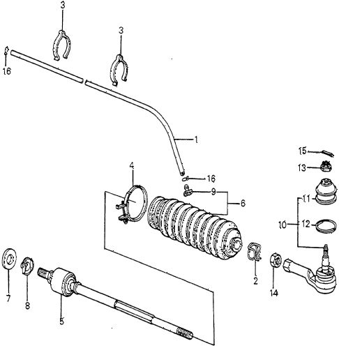 1983 accord LX 3 DOOR 5MT TIE ROD diagram