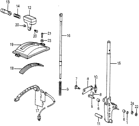 1982 accord DX 3 DOOR HMT HMT SELECT LEVER diagram