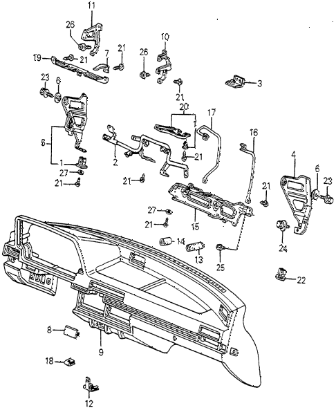 1983 accord SE 4 DOOR HMT INSTRUMENT PANEL diagram