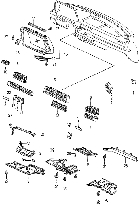 1983 accord SE 4 DOOR HMT INSTRUMENT GARNISH diagram