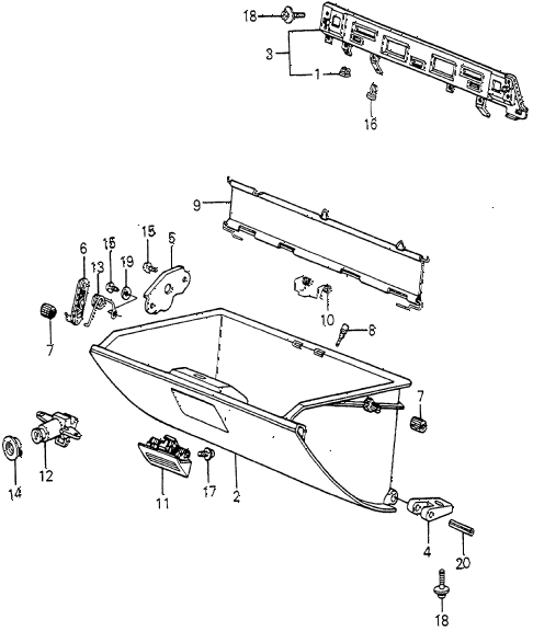 1983 accord DX 4 DOOR HMT GLOVE COMPARTMENT diagram