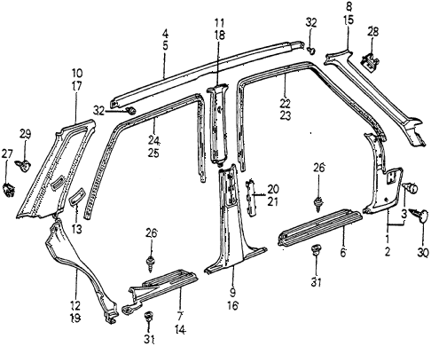 1982 accord DX 4 DOOR 5MT DOOR TRIM 4DR diagram
