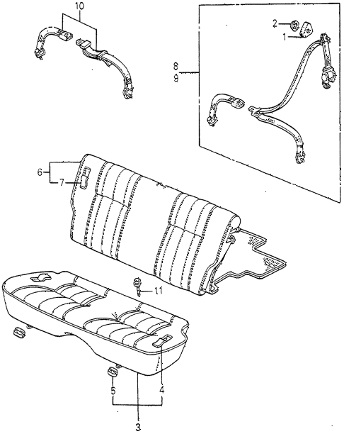 1983 accord LX 3 DOOR 5MT REAR SEAT - SEAT BELT 3DR diagram
