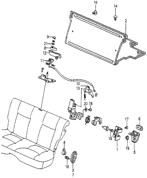 1983 accord DX 3 DOOR HMT REAR SEAT COMPONENTS 3DR diagram