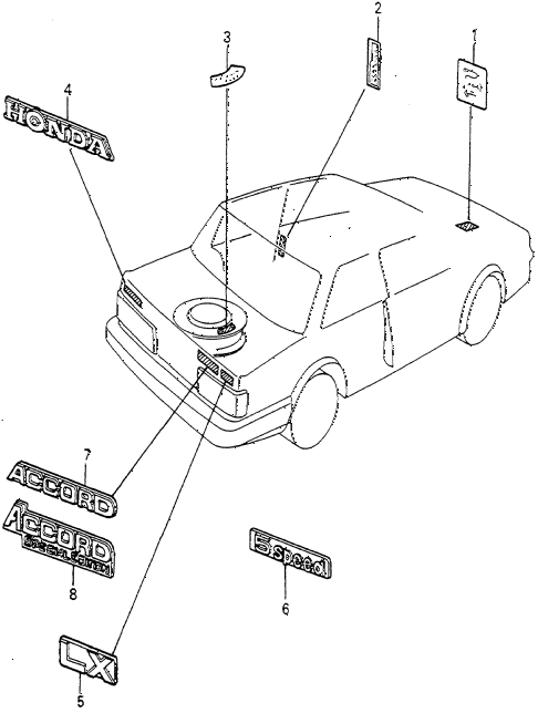 1983 accord SE 4 DOOR HMT EMBLEMS diagram