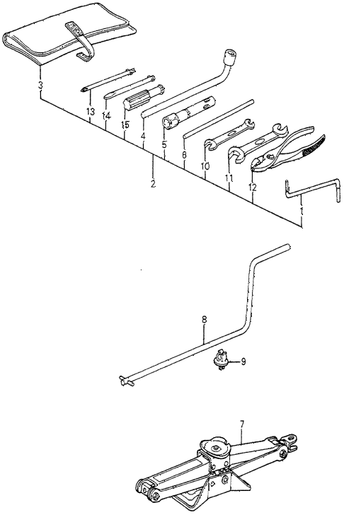 1983 accord DX 4 DOOR HMT TOOLS - JACK diagram