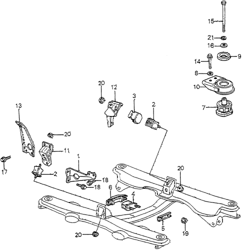 1982 accord DX 3 DOOR 5MT ENGINE MOUNT diagram